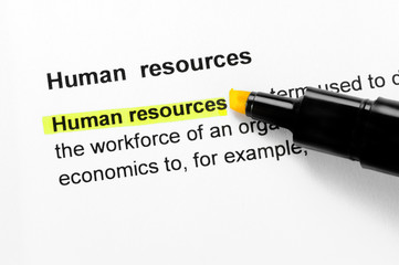 Human resources text highlighted in yellow