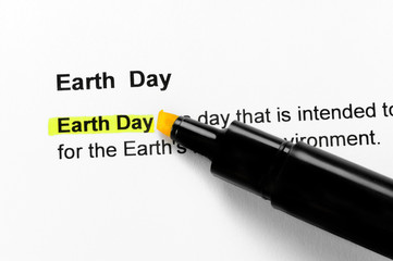 Earth day text highlighted in yellow