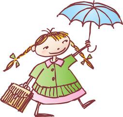 schoolgirl with an umbrella