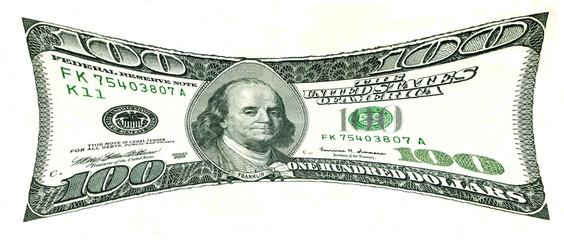 Pressurized 100 US Dollar Bill