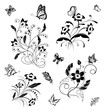 Set with butterflies and flower patterns