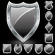 Set of security shields, coat of arms symbol icons, black