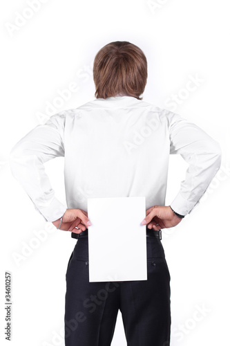 man holding a blank white board on his back