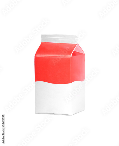 milk or juice carton box isolated on a white background.
