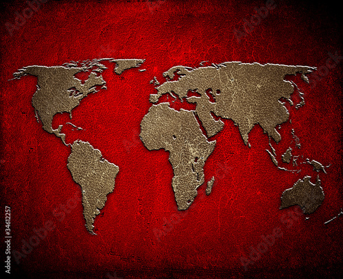 world map on leather background © Eky Chan