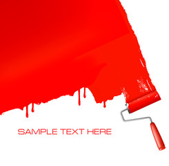 Red roller painting the white wall. Vector background.