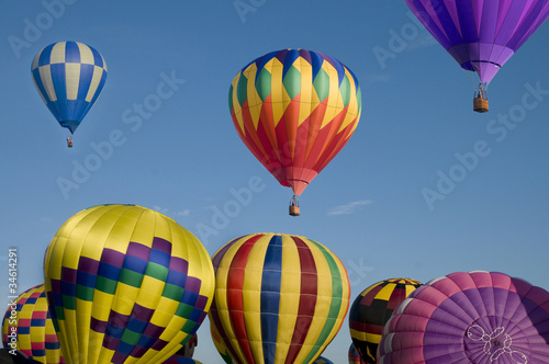 Hot-air balloon ascending over others