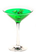 Martini glass with green coctail isolated on white
