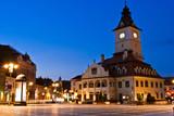 Brasov Council Square at twilight - Transylvania, Romania poster