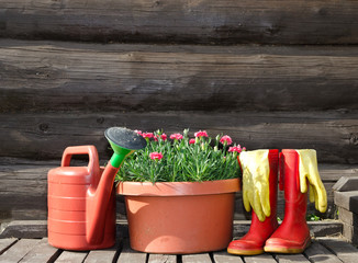Garden tools - flower pot, gloves, watering can, boots