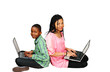 Kids studying on computer looking up