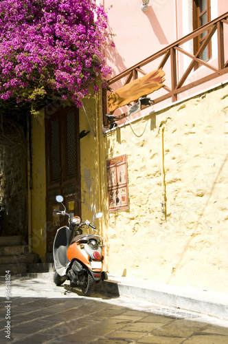 typical street scene motorbike Syros Cyclades Greek Islands