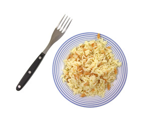 Rice pilaf with fork