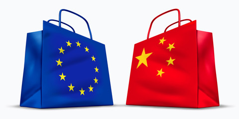 China and the European Union trade symbol