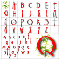 ABC Alphabet background oriental bamboo red design