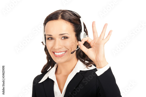 Support operator with okay gesture, on white