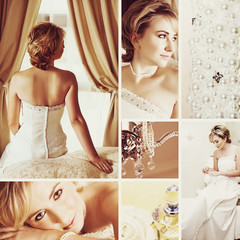 Collage of beautiful blonde bride.