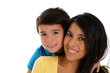 Woman and Son On White Background