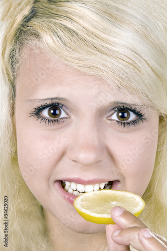 girl with a lemon