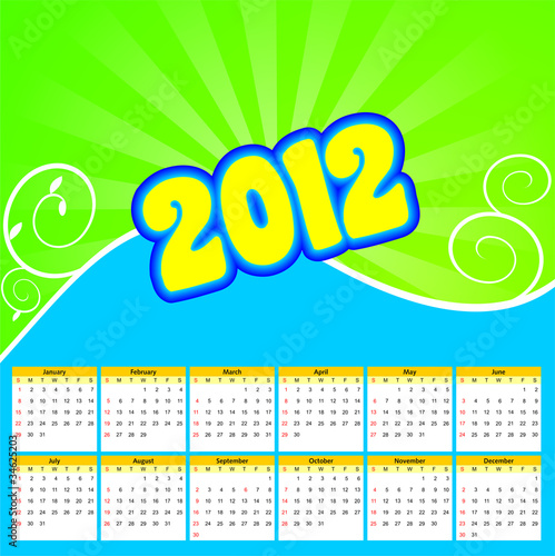 calendar for 2012 through 2014