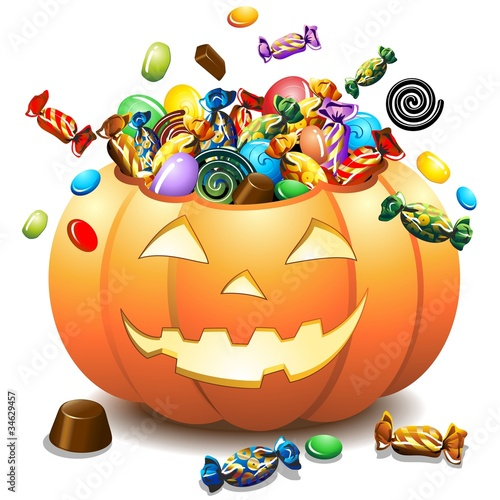 Halloween Zucca e Caramelle-Halloween Pumpkin and Candies-Vector