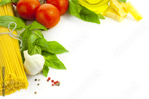 Ingredients for Italian cooking / frame composition