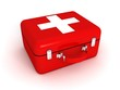 red medical bag with a white cross