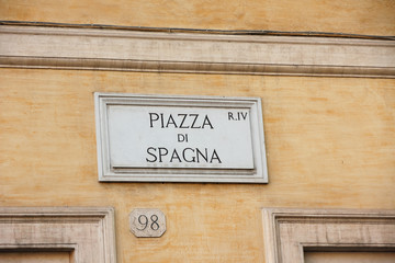 Piazza di Spagna, marble street sign in Rome, Italy