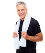 Mature guy holding a towel around her neck after exercising