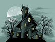 Creepy haunted ghost house scene illustration - 34641243
