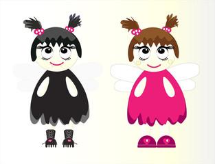 pretty girls in costume vector