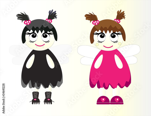 pretty girls in costume vector