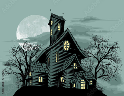 Creepy haunted ghost house scene illustration - 34641243