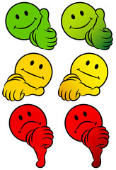 Smiley Thumb Up, Middle & Down