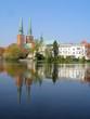 Lübeck, Mühlenteich und Dom