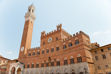 tower on the main square in Siena, Italy, Tuscany