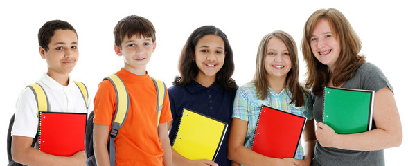 Students On White Background
