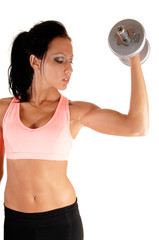 Girl lifting dumbbells.