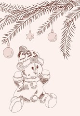 Hand drawn christmas card with snowman in santa claus dress