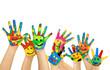 Leinwanddruck Bild - viele bemalte bunte Kinderhände