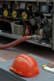 Fuel truck and helmet close up