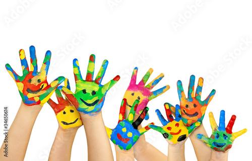 Leinwandbild Motiv viele bemalte bunte Kinderhände