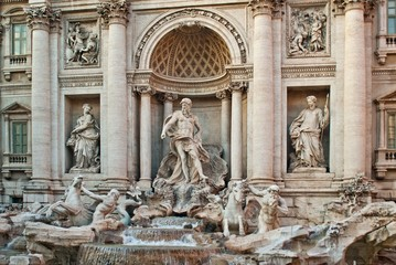 Baroque Trevi Fountain (Fontana di Trevi) in Rome, Italy