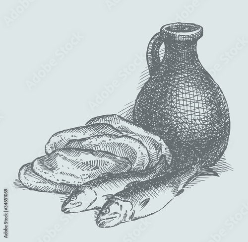 Vector sketch. Still life of a simple peasant food