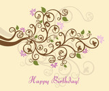 Fototapety Feminine floral happy birthday card