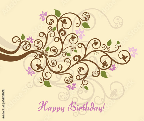 Feminine floral happy birthday card