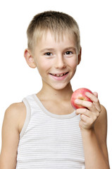 boy with red apple