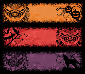 Set of a grunge halloween banners.