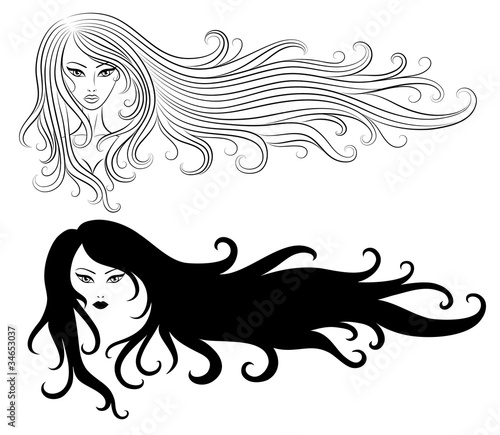 Set of a girls with a long hair.