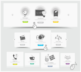 Web design carousel elements whith icons set